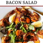 Blackened shrimp salad with hard boiled eggs, bacon and champagne vinaigrette