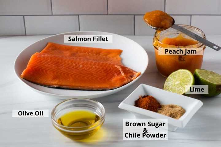 Ingredients to make Peach Ham Oven Baked Salmon