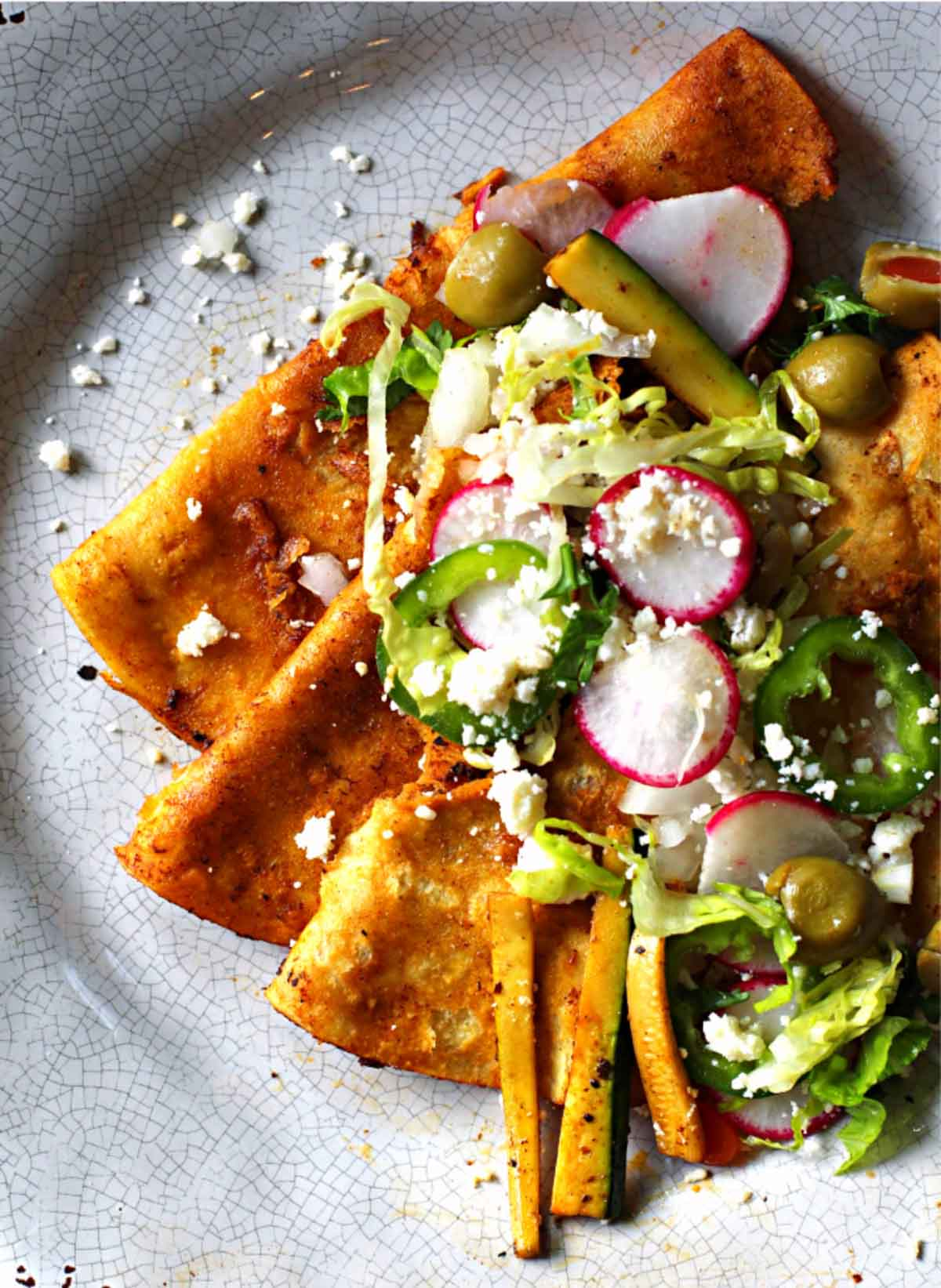 Street style folded enchiladas in red chile sauce topped with radish and crunchy vegetables