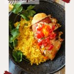 Spicy Mexican Chicken bacon wrapped and served with yellow rice