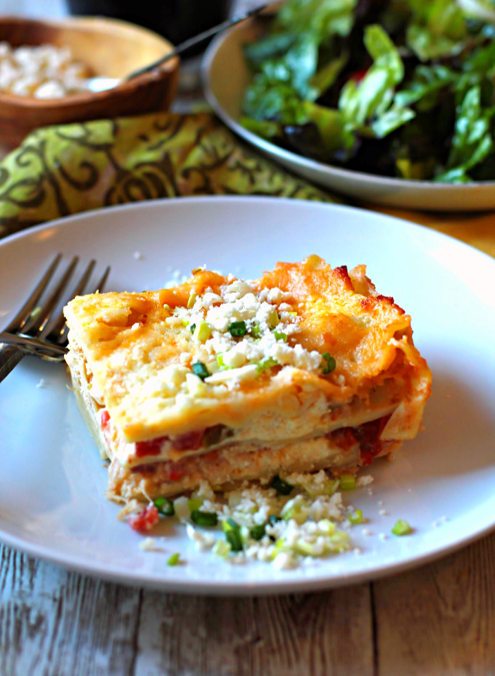 Hatch Chile White Chicken Lasagna Recipe served with a tossed salad