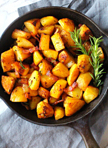 Pan Roasted potatoes in a cast iron skillet