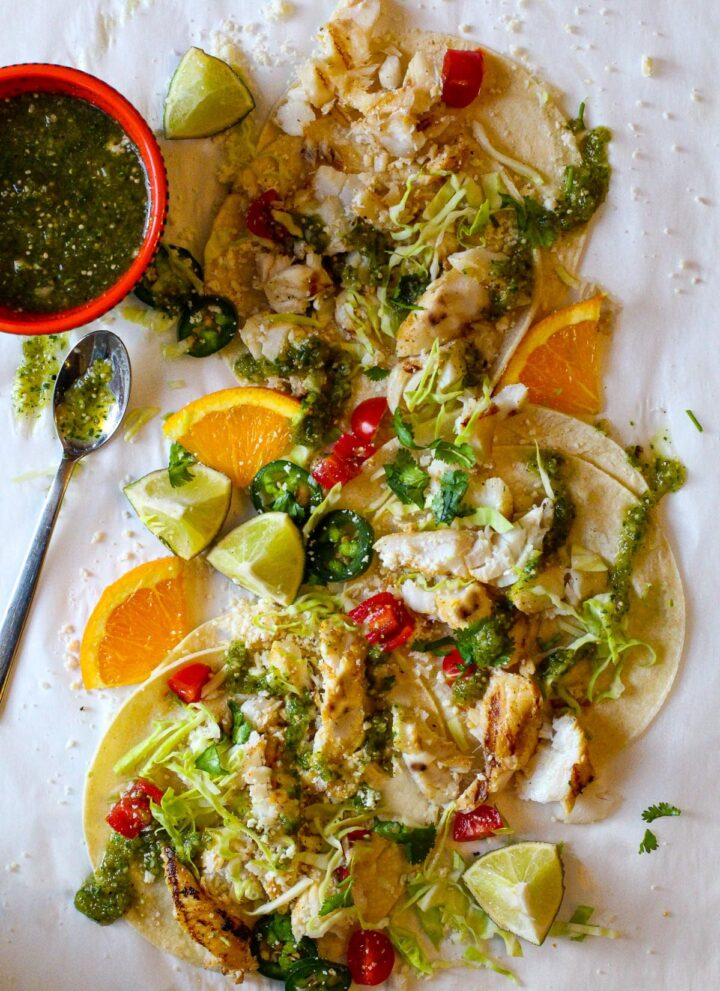 Cod fish tacos with citrus and tomatillo salsa