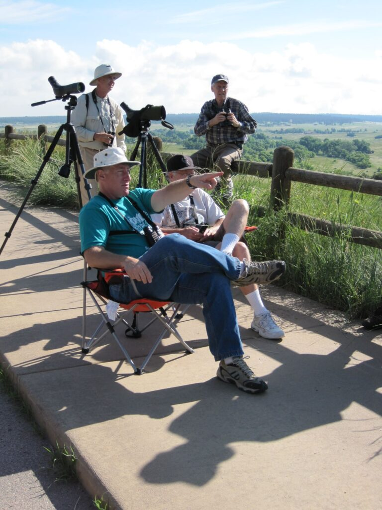 Ira Sanders, Larry Modisett, Joe Roller birdwatching at Castlewood Canyon State Park for the Black Vulture
