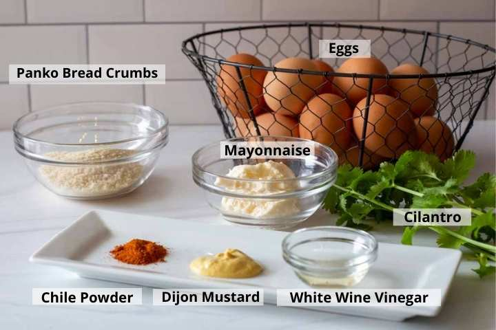 Ingredients to make spicy deviled eggs