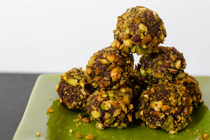 Orange Chocolate Truffles rolled in crushed pistachios