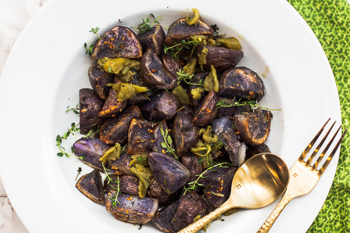 Purple potatoes roasted with garlic and thyme