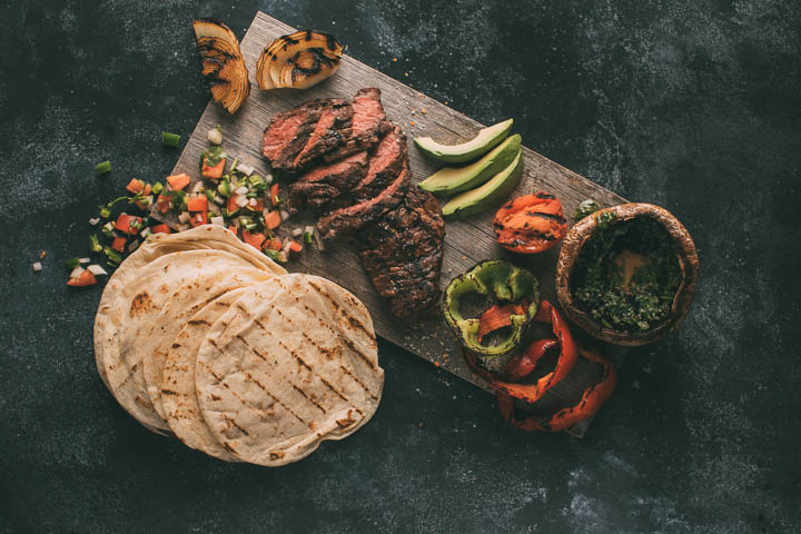 Rio Steak Fajitas with grilled vegetables and flour tortillas