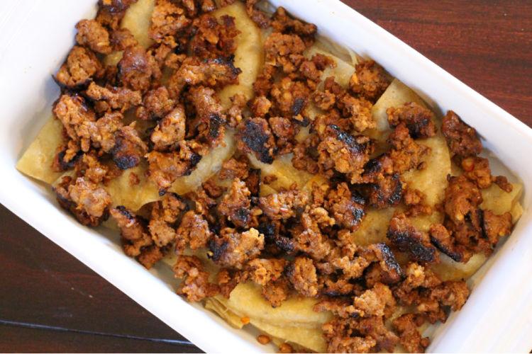 Adding cooked chorizo to breakfast casserole