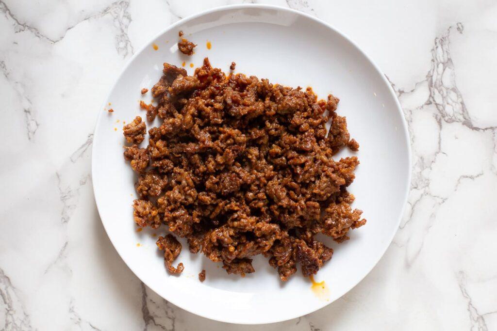 browned chorizo sausage