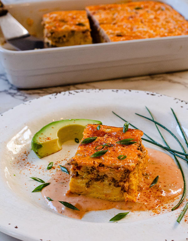 Mexican Breakfast Casserole with Chorizo and Velveeta Sauce