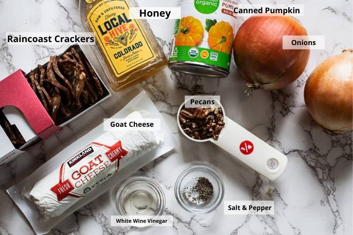 Ingredients for pumpkin goat cheese appetizer spread
