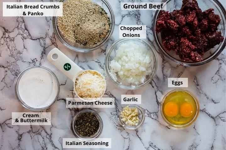 Ingredients for Italian Meatballs