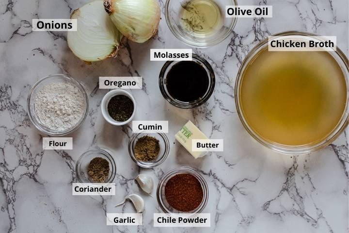 Ingredients to make carne adovada