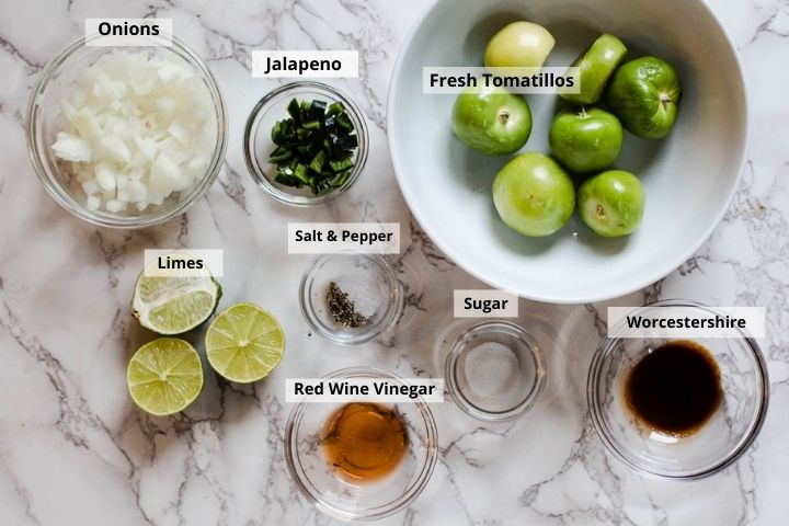 Ingredients used to make homemade roasted tomatillo salsa.