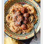 Baked Italian Meatballs with Spaghetti