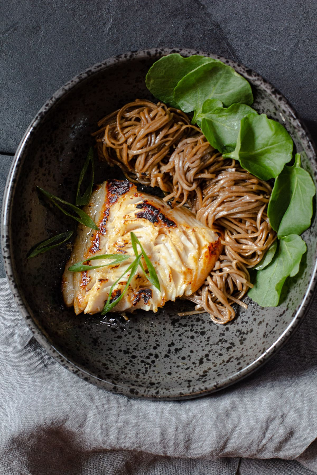 Black cod with miso served with soba noodles.