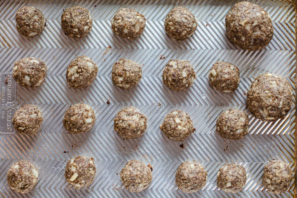 Baked Italian Meatballs on a sheet pan.