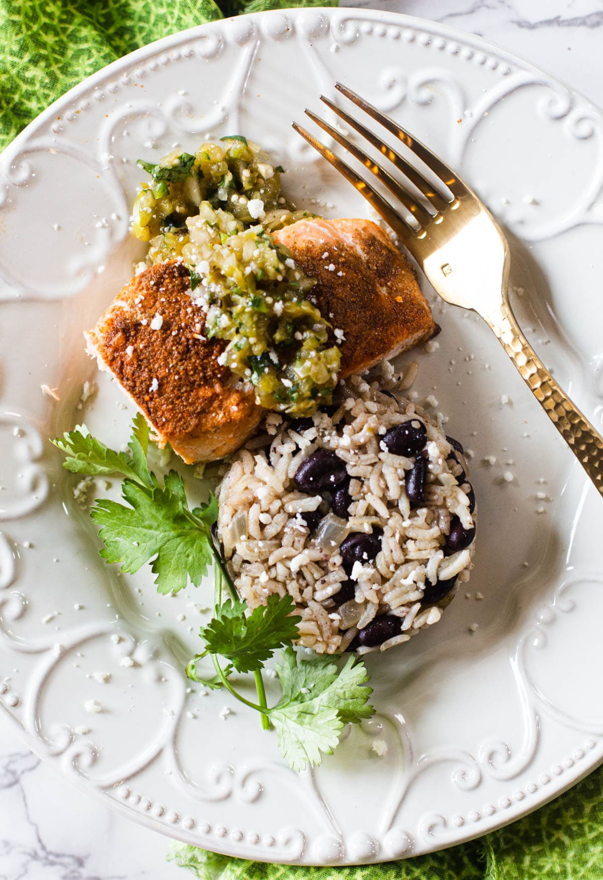Cumin chile powder rubbed salmon fillet with black bean and chile rice
