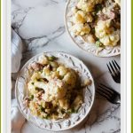 Creamy Cauliflower Casserole with peas and prosciutto