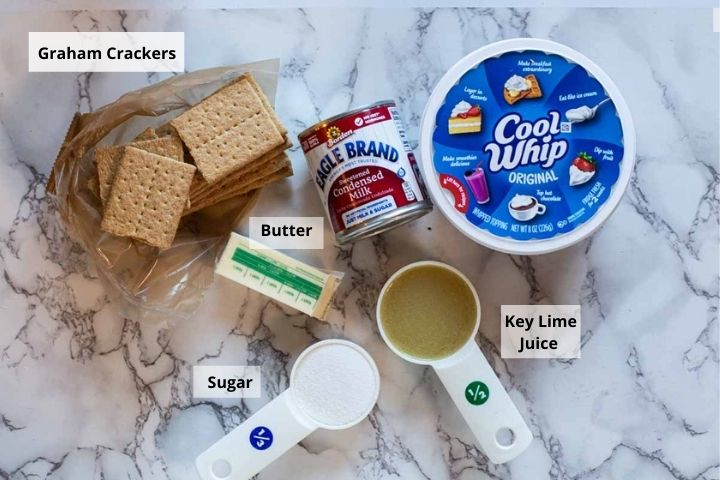 Ingredients to make no bake key lime pie with cool whip