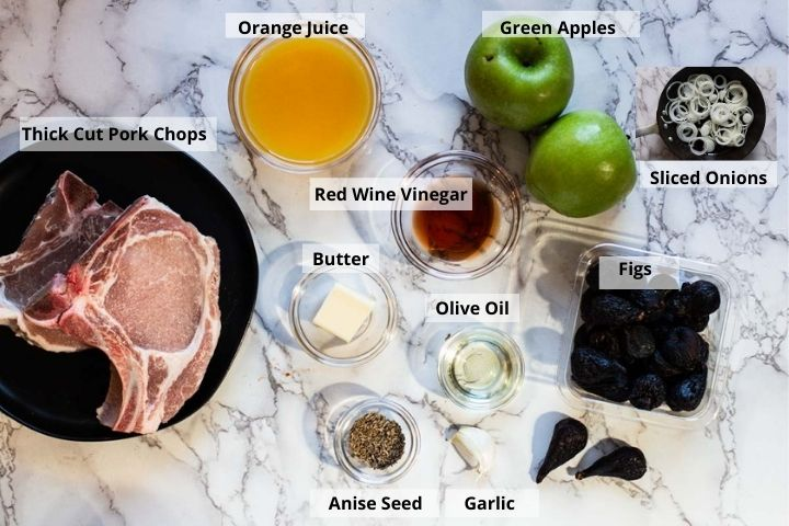 Ingredients to make slow cooker pork chops with apples