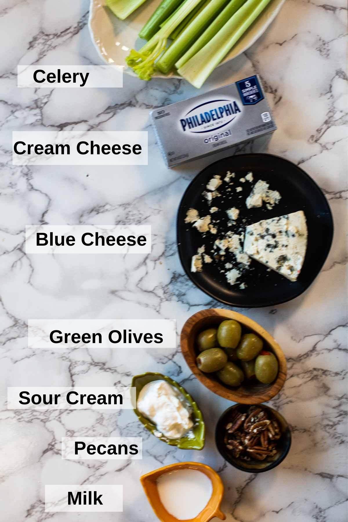 Ingredients to make stuffed celery sticks appetizer recipe