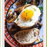 Sherried mushrooms and eggs on toast