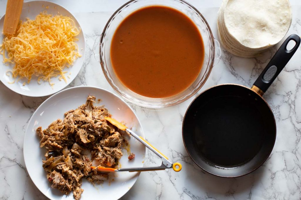 Assembly line, how to fill and roll pulled pork enchiladas