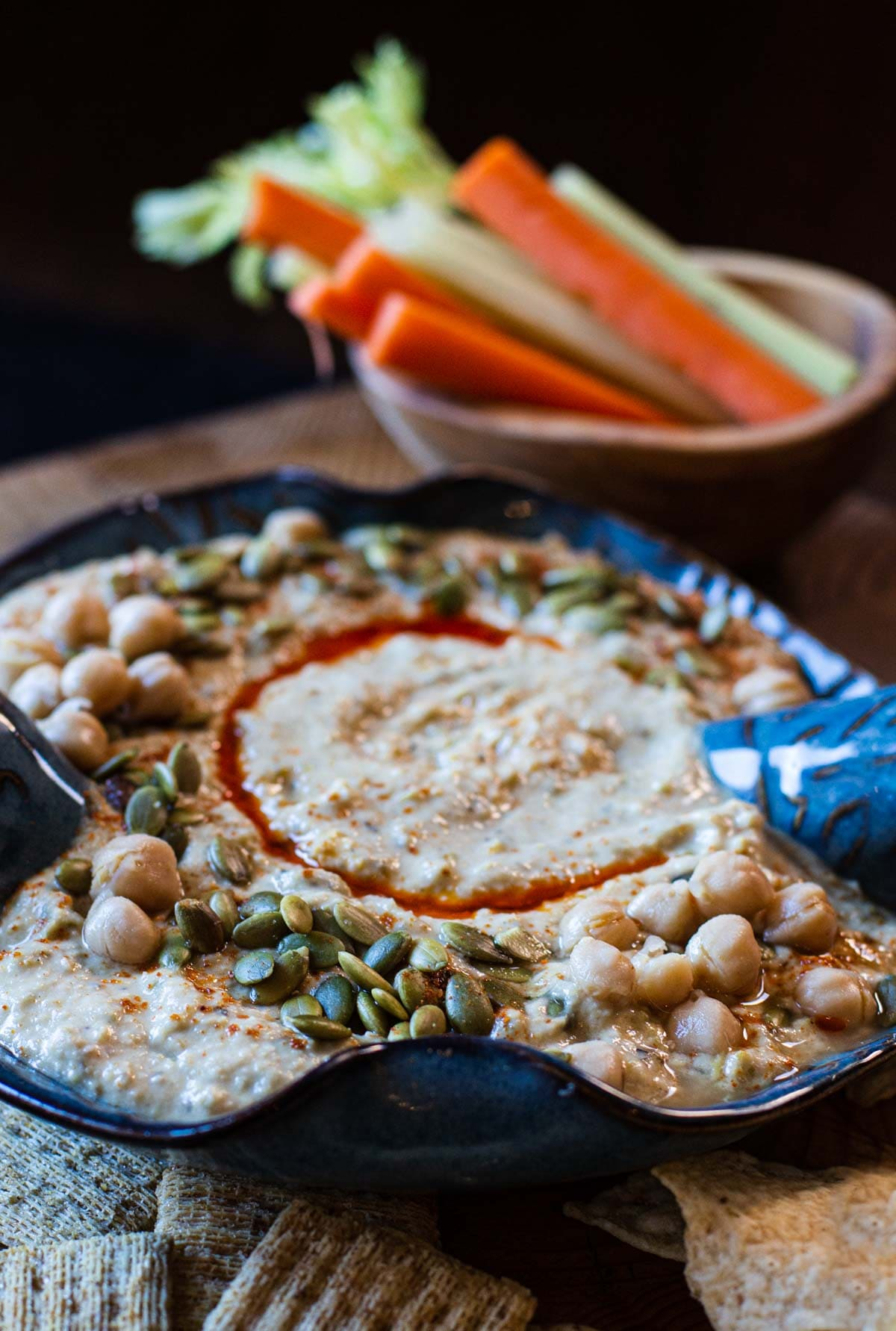 Spicy Hummus Recipe made with Hatch Green Chile Peppers