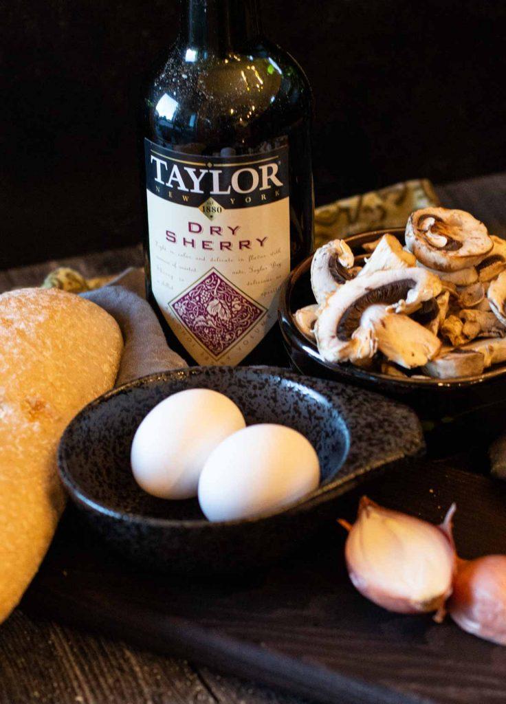 Ingredients to make egg and mushroom breakfast recipe