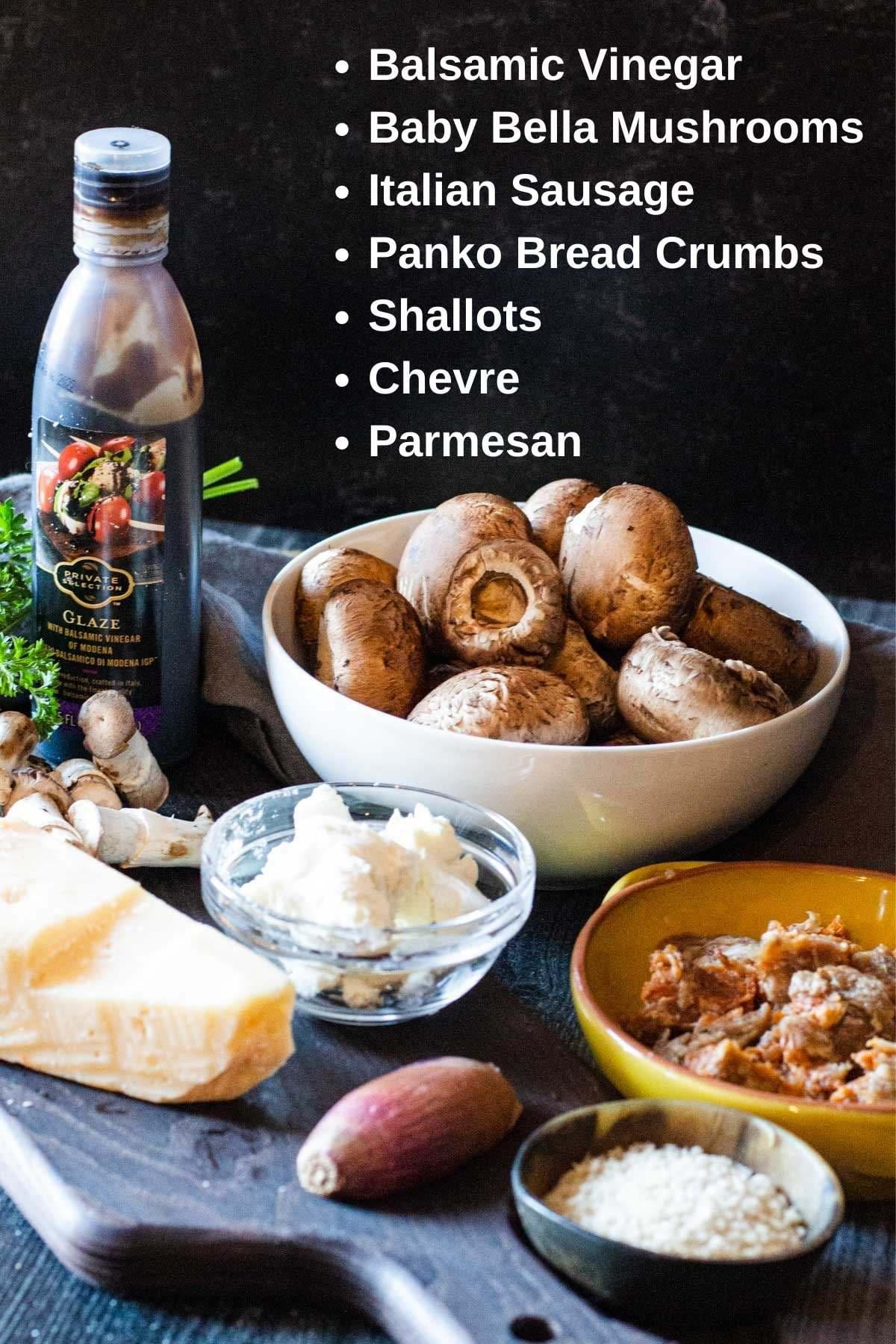 Ingredients to make italian stuffed mushrooms