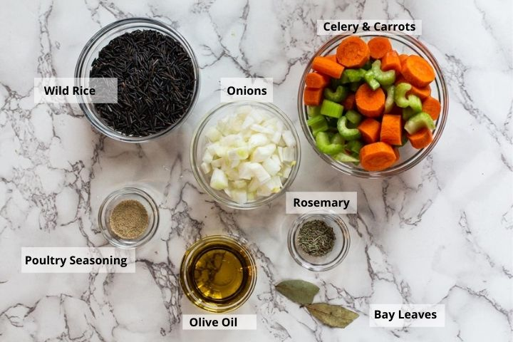 Ingredients to make chicken wild rice soup recipe