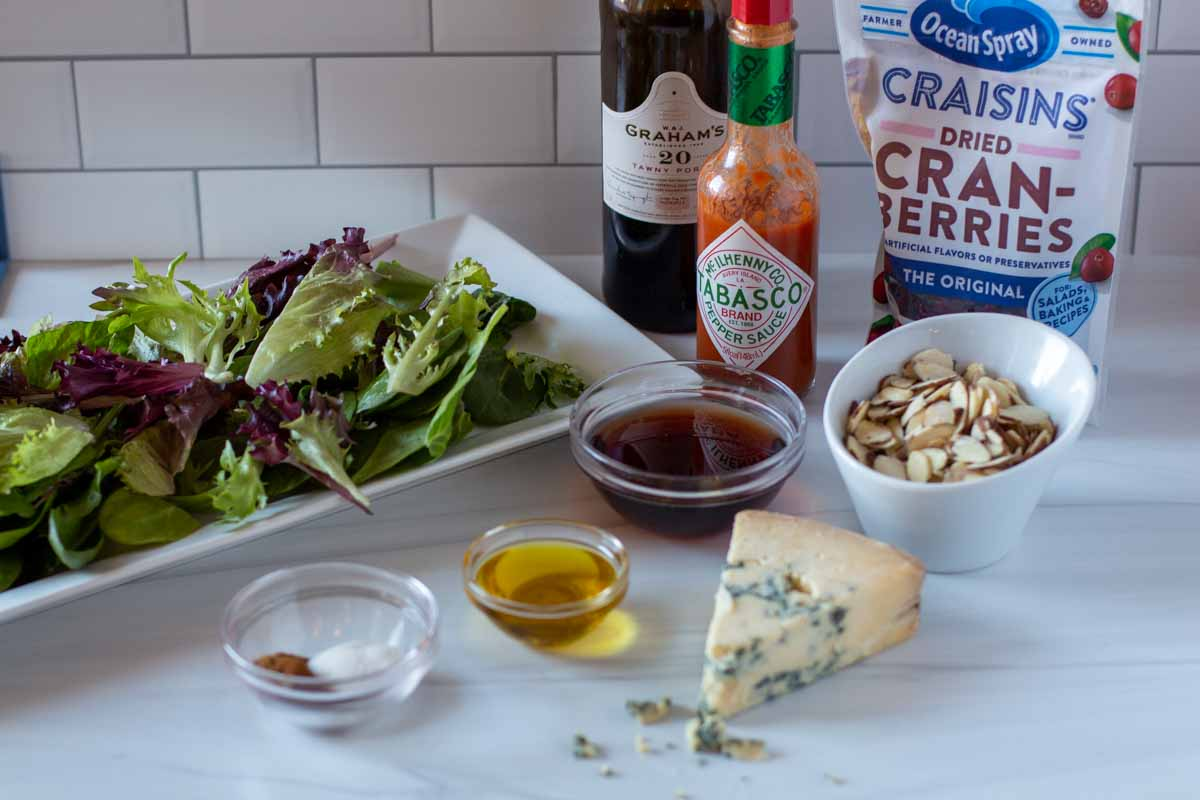 Ingredients to make a New Orlean's themed salad