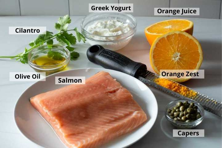Ingredients to make orange salmon with caper sauce.