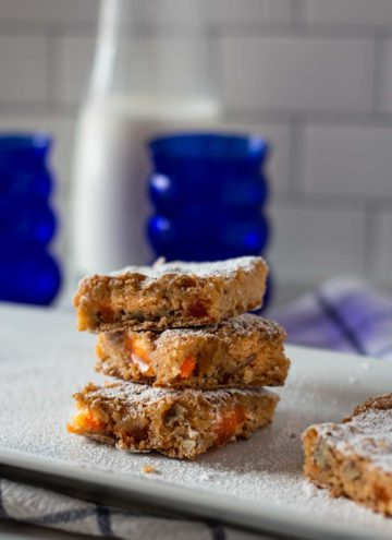A stack of orange slice bars with orange slice candy