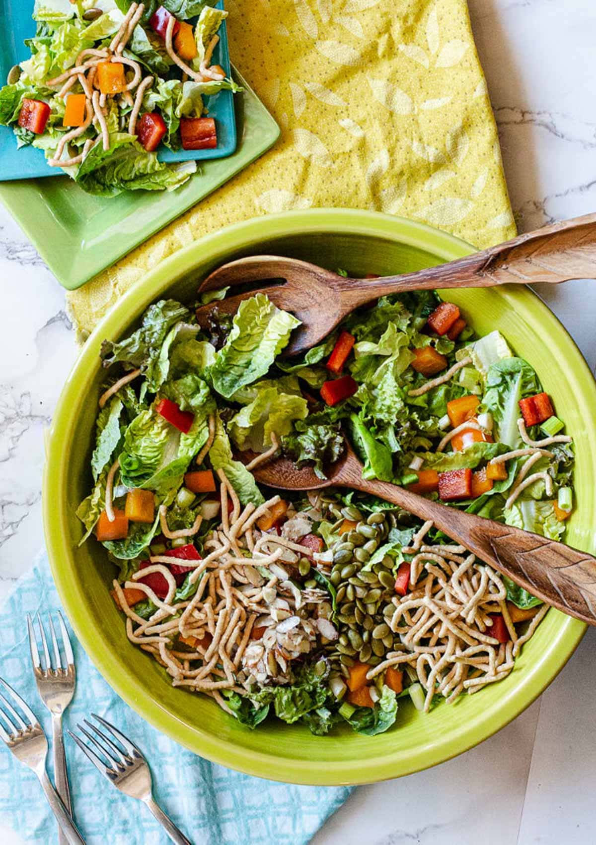 Green Tossed salad topped with crispy chow mein noodles and pumpkin seeds