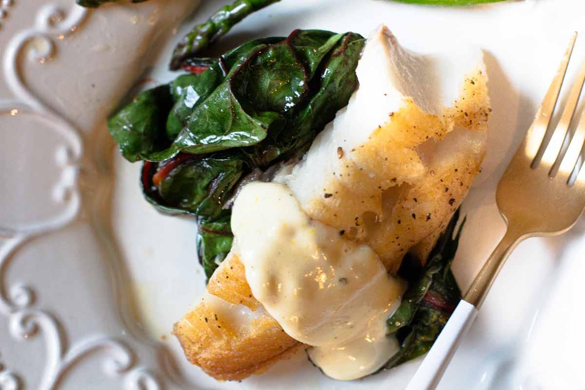 Sauteed lingcod with lemon garlic aoili and wilted chard