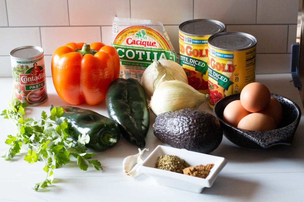 Ingredients to make easy huevos rancheros