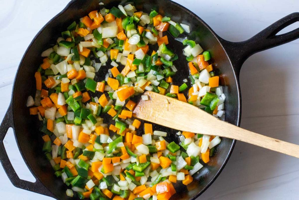 sauteeing vegetables for easy ranchero sauce
