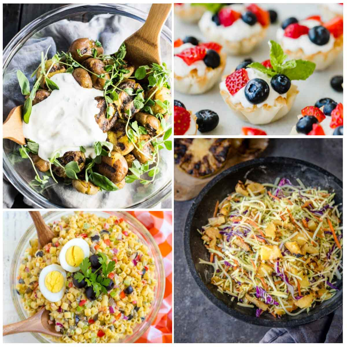 a collage photo of 4th of july side dishes