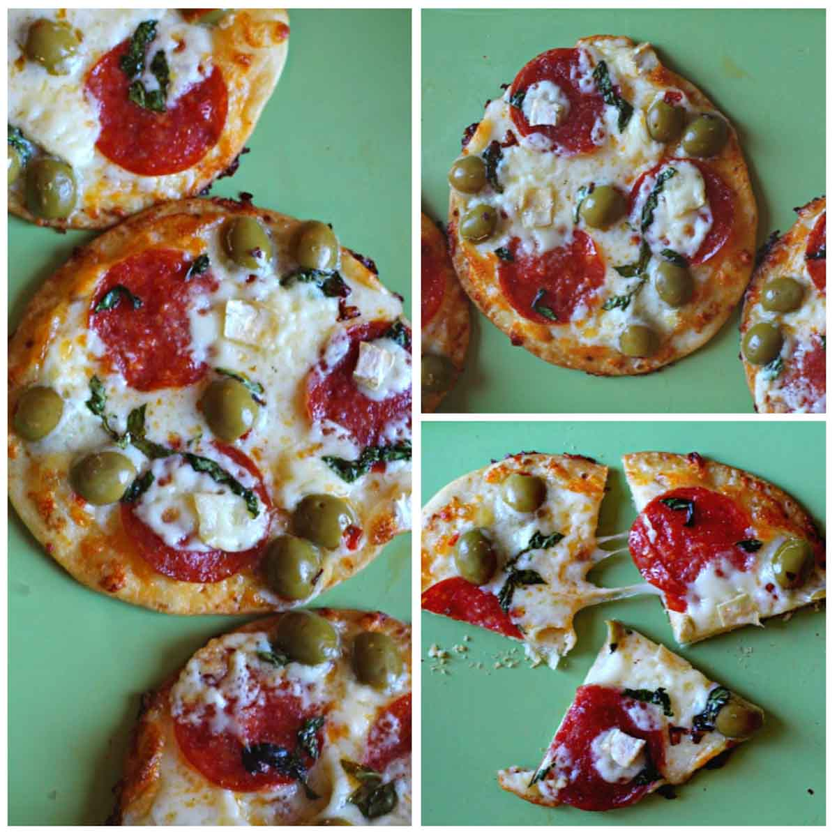 Brie cheese, green olive pizza on flour tortillas