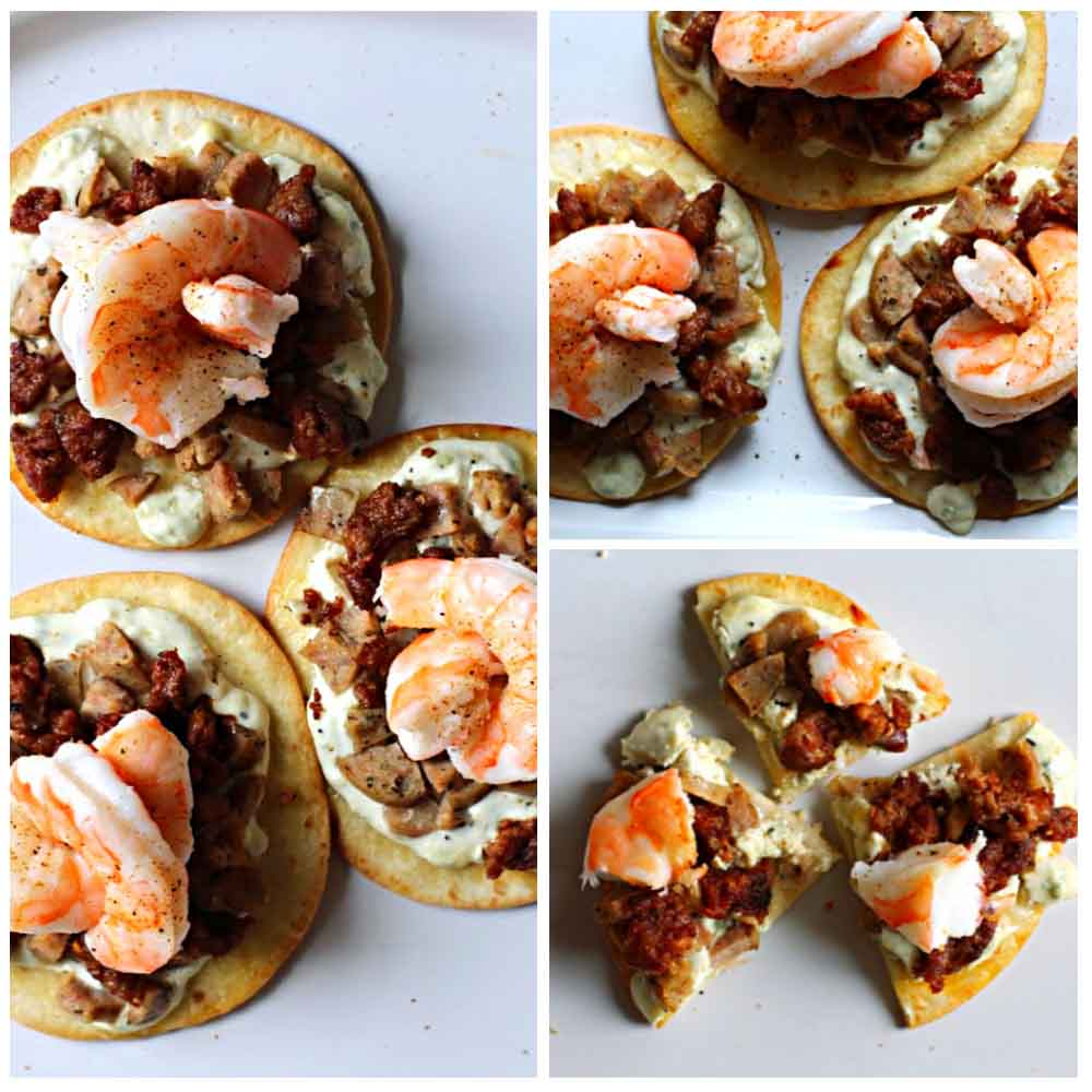 Flour tortilla pizza recipe with shrimp and sausage