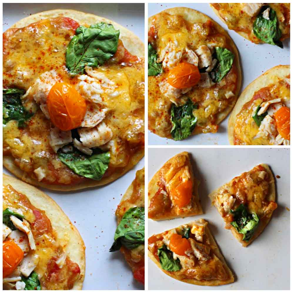 Flour Tortilla Pizza appetizer with green chili, cheddar cheese, chicken, spinach and grape tomatoes