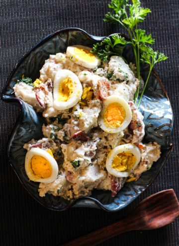 Blue Cheese Potato Salad with Bacon and sliced hard boiled eggs.