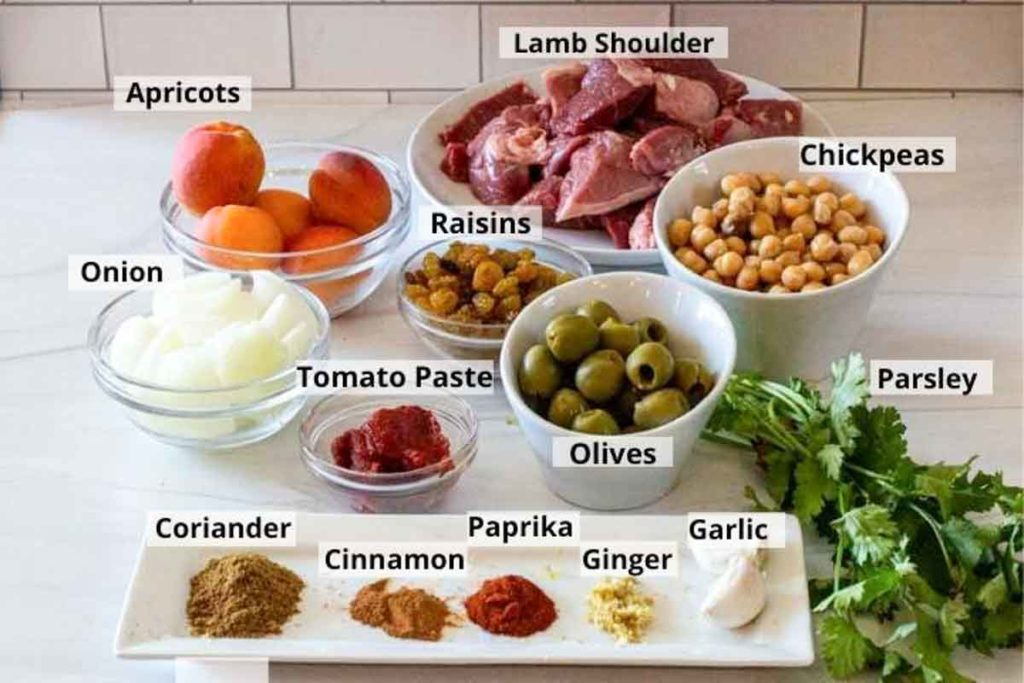 Ingredients to make apricot lamb tagine