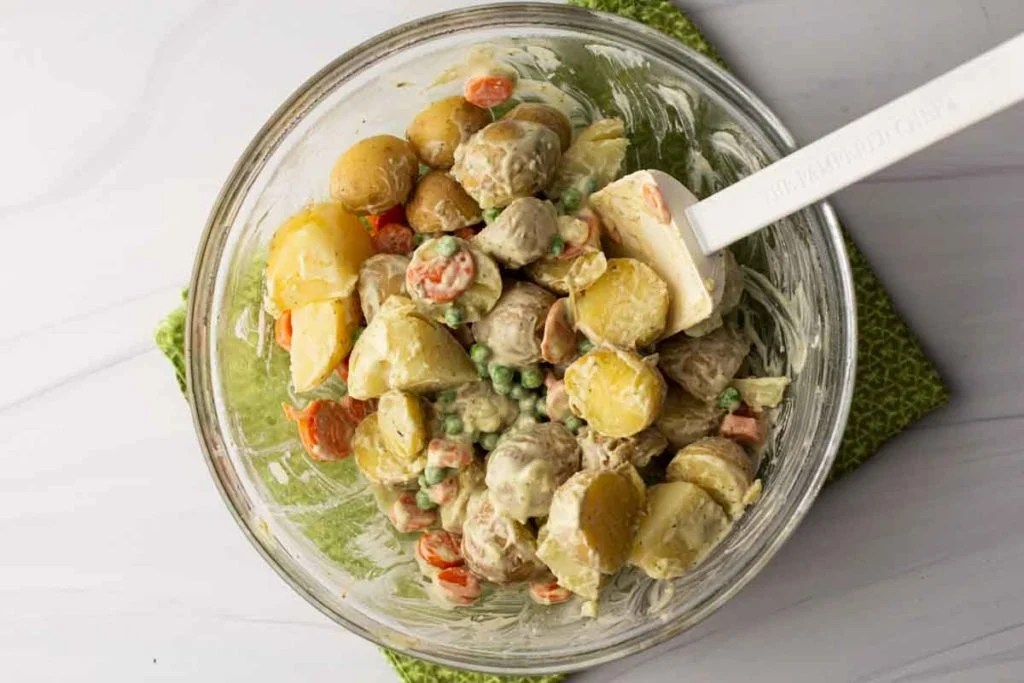 Avocado Potato Salad in a clear bowl.