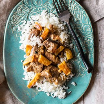 Fillipino pork adobo with pineapple served over white rice