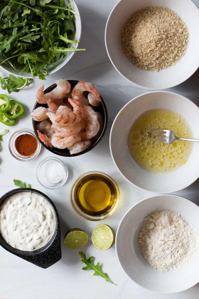 Ingredients to make baked breaded shrimp