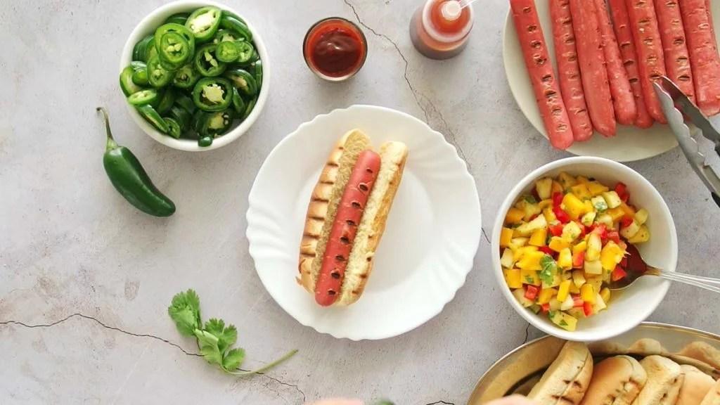 grilled hot dog inside a grilled hot dog bun